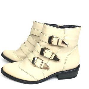 Shoe Republic LA Cream Buckle Detail Boot Size 6